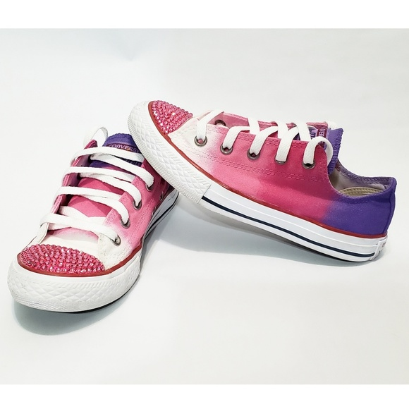 a61c0eba501c2 Children's Converse Hand Dyed Ombre Bling Shoes